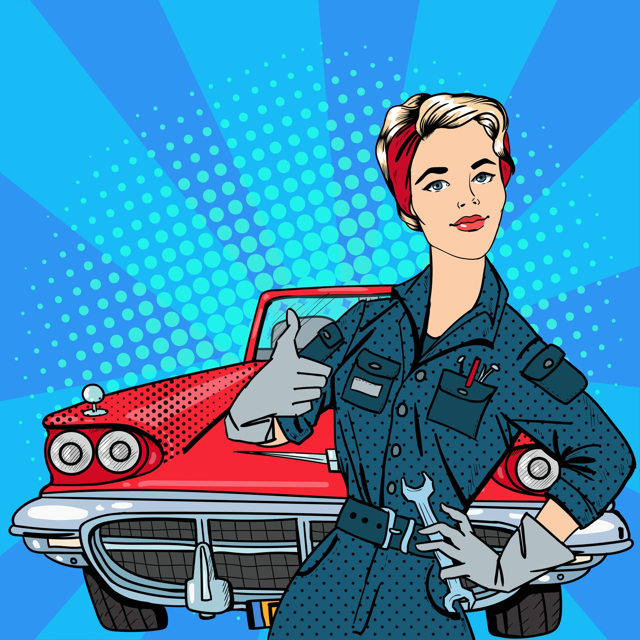Women mechanic cartoon