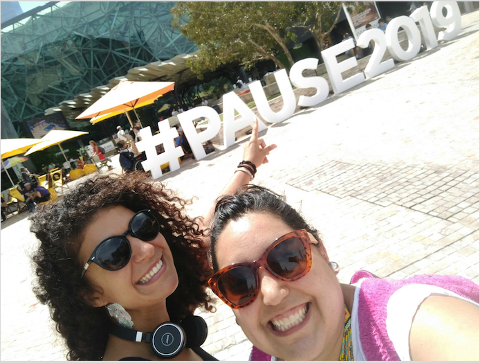 The Neighboulytics team (Esmeralda Garcia, left and Gala Camacho Ferrari right) on the ground at Pause Fest