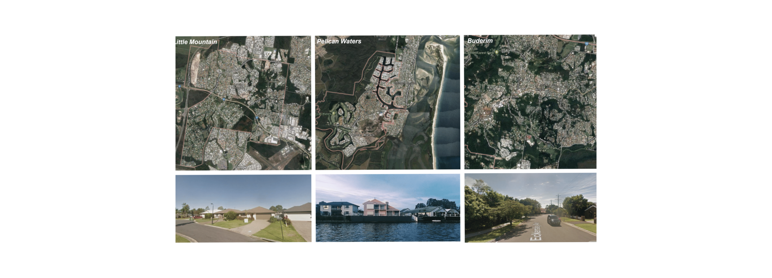 From satellite, and on the surface: Little Mountain, Pelican Waters, and Buderim.