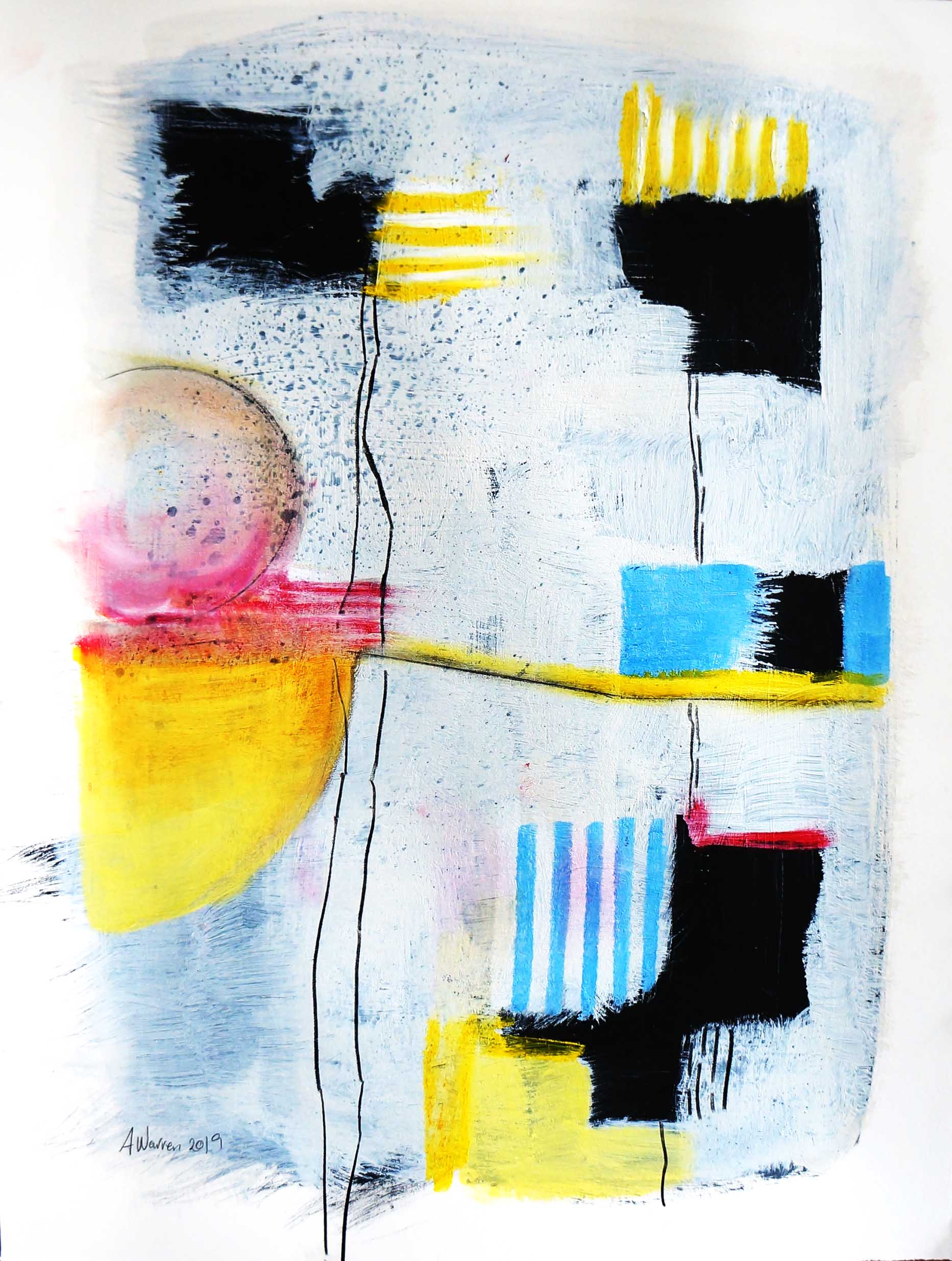 Yellow Stripes Abstract on paper_warrenanne.jpg