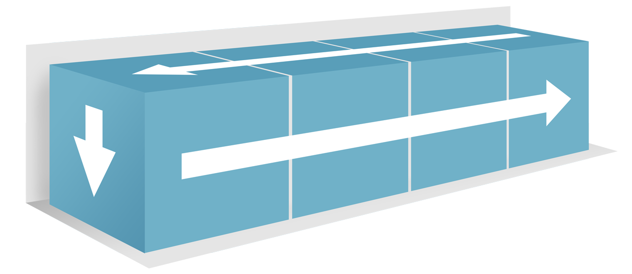 The air flows around the goods, which means the goods are block-loaded to make sure there is no space for air in between the load.