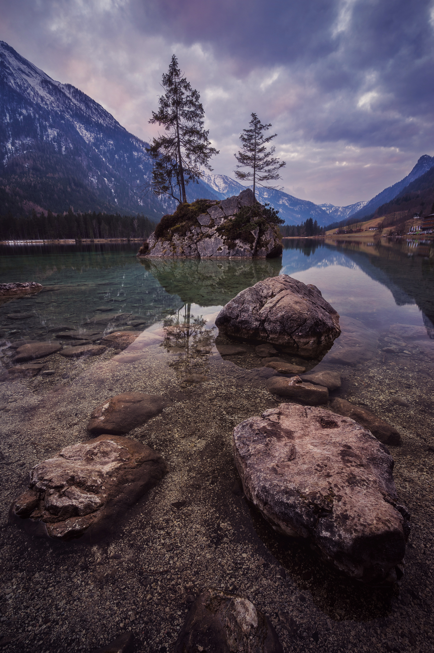 Beautiful island with natural trees at Hintersee near Berchtesgaden