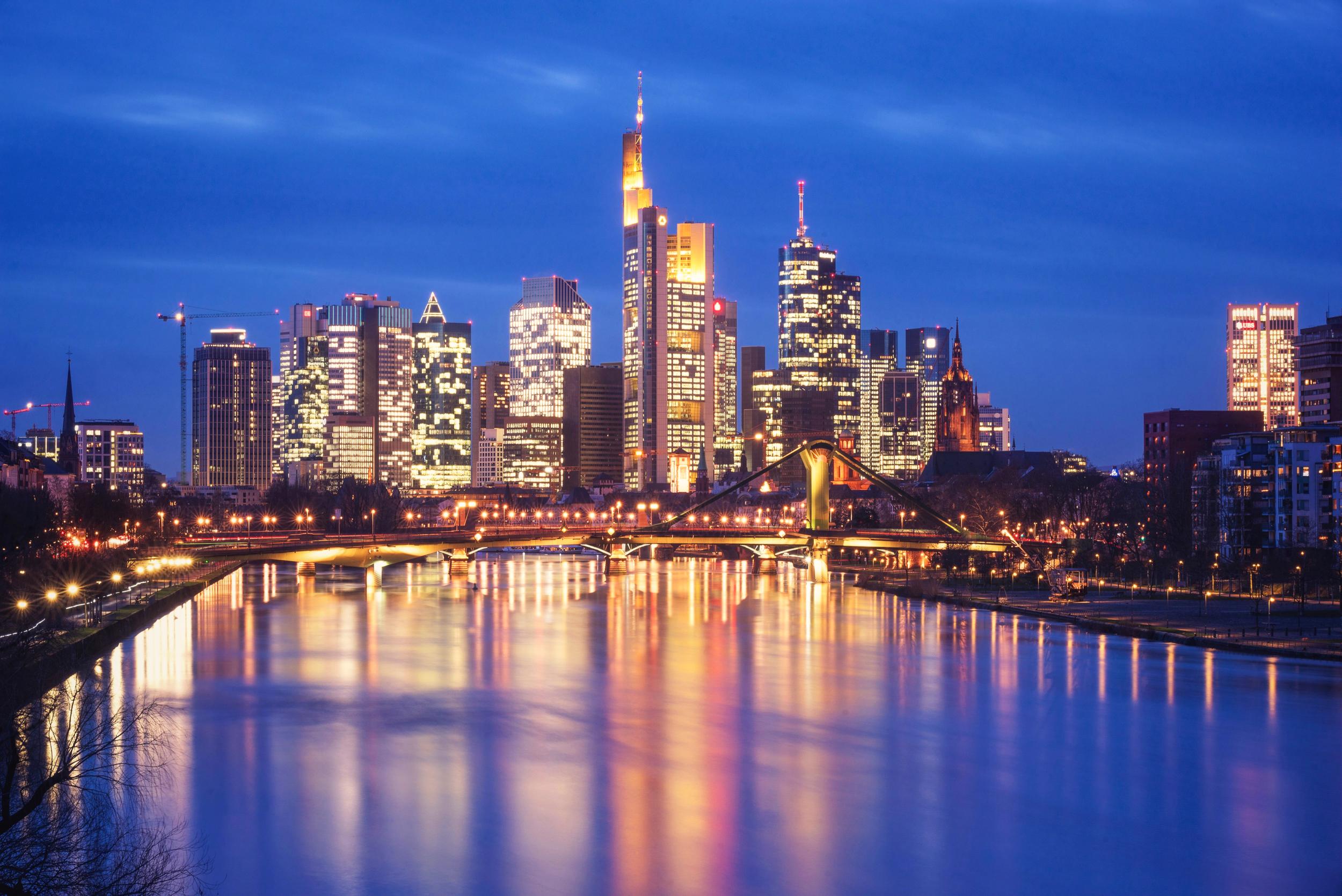 Frankfurt City at blue hour