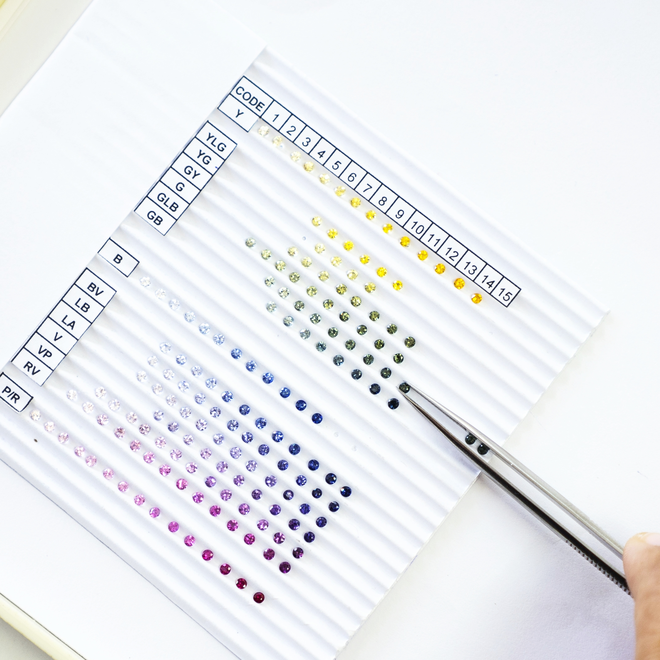 CONSULTATION - We create a system that matches with the customer's need, which gives an advantage to jewelry designers and stone setters to perform an easier task. We call it the Color Chart.