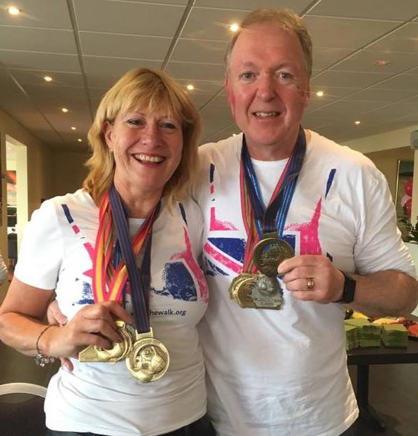 Fiona Baber with fellow walker Andy Hudson after completing the 3 Land Challenge.