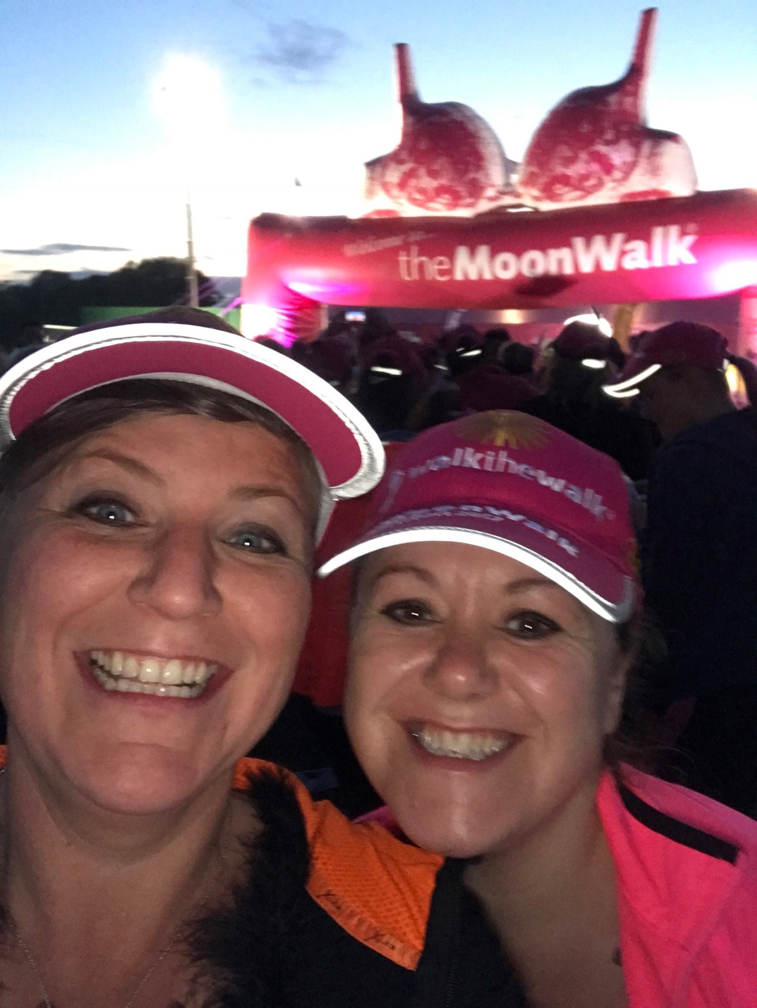 Emma Budge and walking partner Karen at The MoonWalk London 2017.