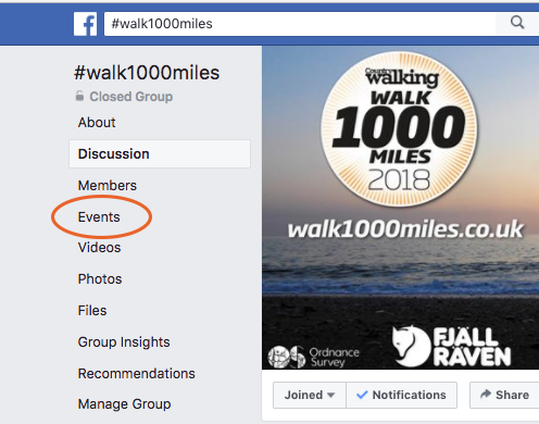 Click on the Events tab on the left of your screen.