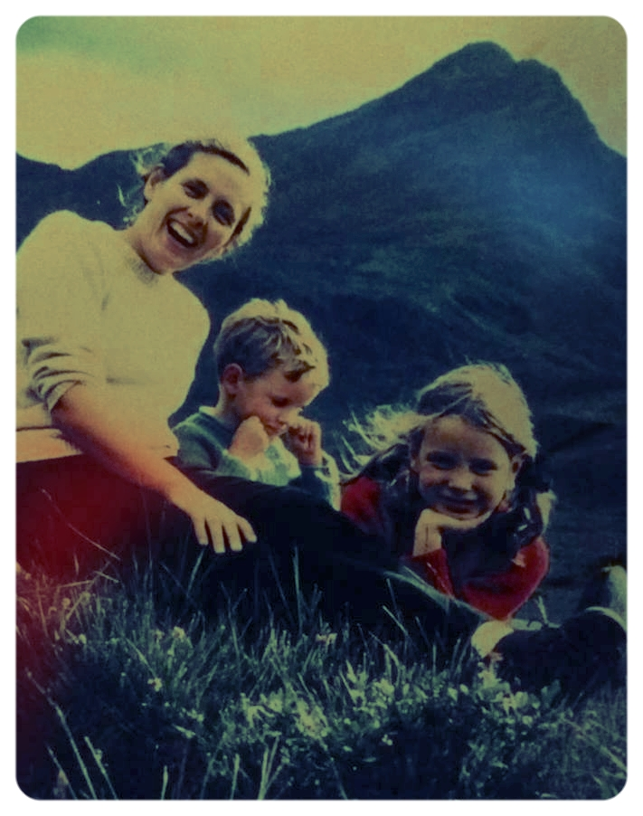 "Lynda Turner – ""Me with my mum and brother on Skye in 1971."""