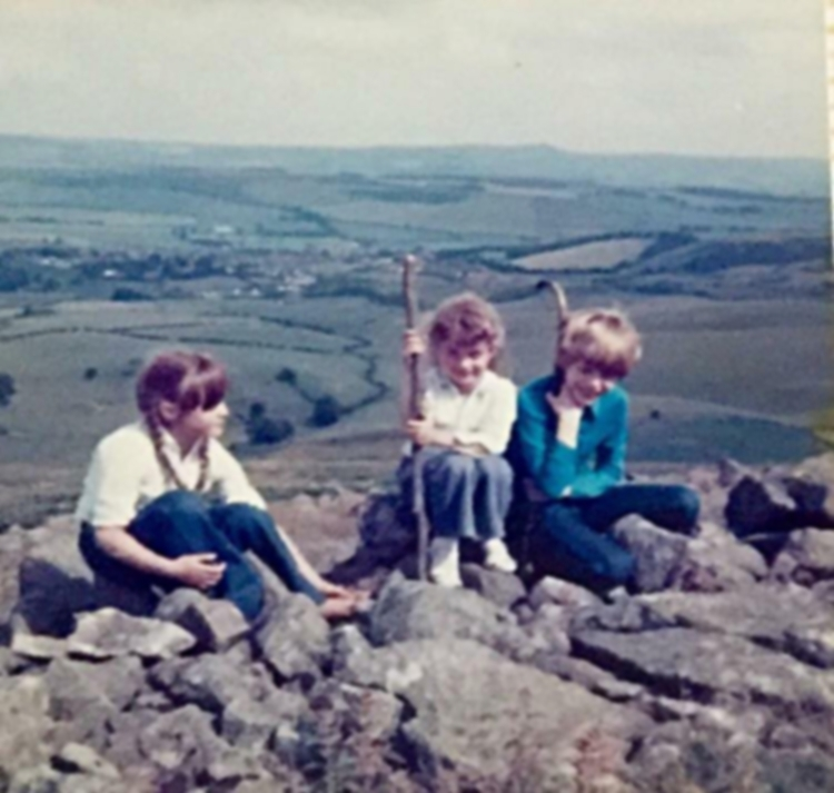 "Nicola Hainsworth – ""On top of Humbledon Hill about 40 years ago; I'm in the middle."""