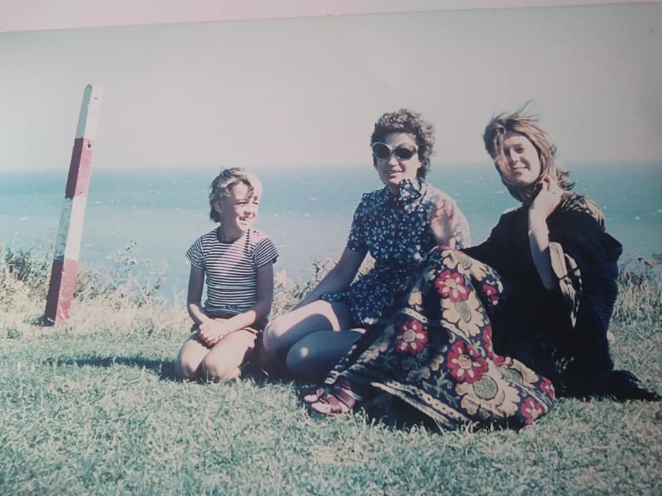 Penny Mead: Me with mum and brother at Folkestone 1971. Note the contrast between the length of my mum's and my dresses. She was quite the swinging 60s lady, while I'm pretending to be a hippie!