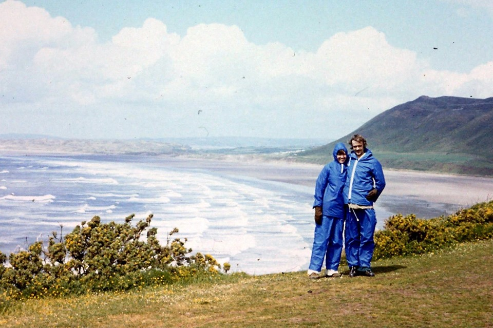 Glyn Horan – This is me with my husband at Rhossili Bay in 1977. It was the weekend of the Queen's Silver Jubilee and we camped for the weekend with my sister, who was studying in Swansea at the time. It was really busy, and really wet. Do you remember those cagoules and overtrousers, which were really stiff, and crackled every time you moved?
