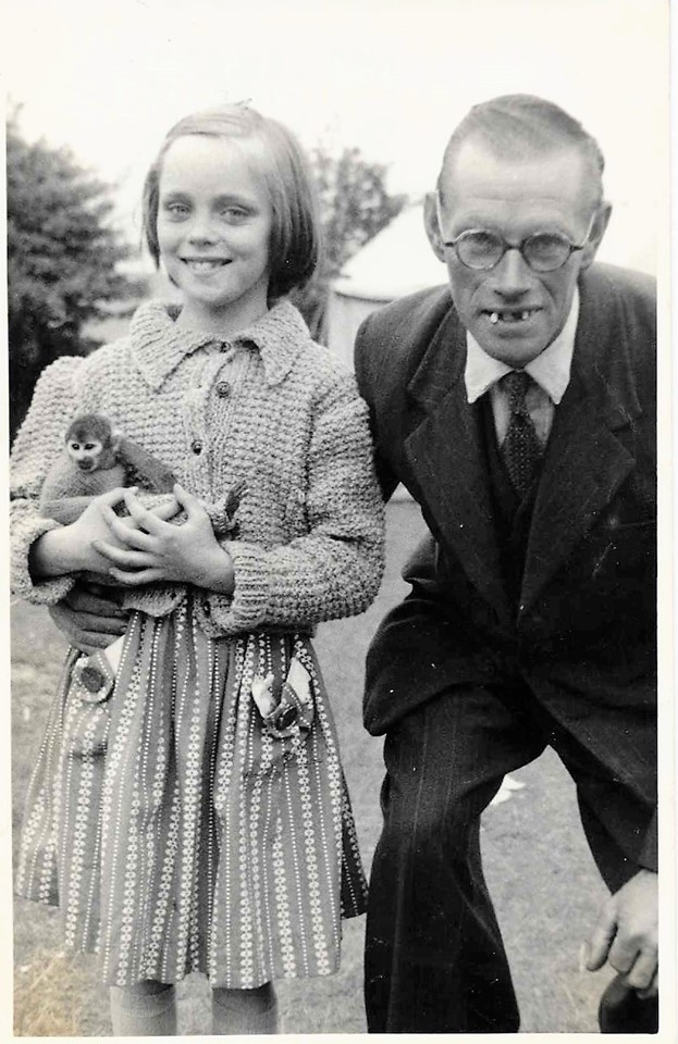 Meg Vickers – This is me, aged 8, with a monkey (the furry thing in my arms, not the scary man on the right – my lovely Dad). I think the dentist gave him new front teeth soon after this was taken.