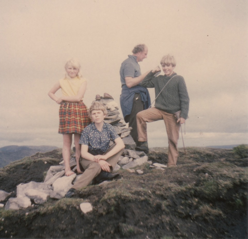 Jane Chambers – Somewhere on the west coast of Ireland mid 60s. Note bare feet from getting white socks wet in peat bog- so climbed most of it barefoot!
