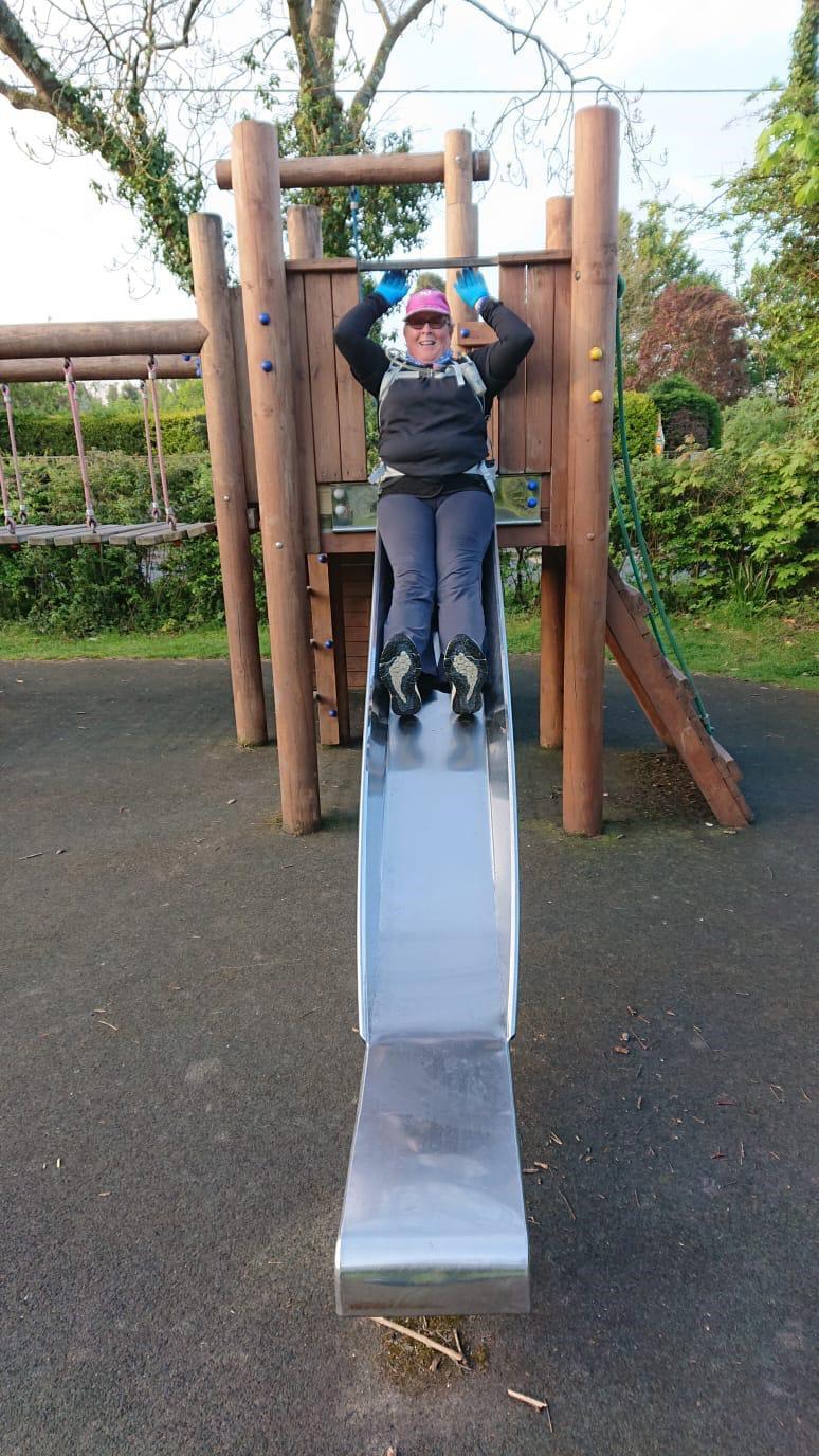 Jane having fun in the playground.