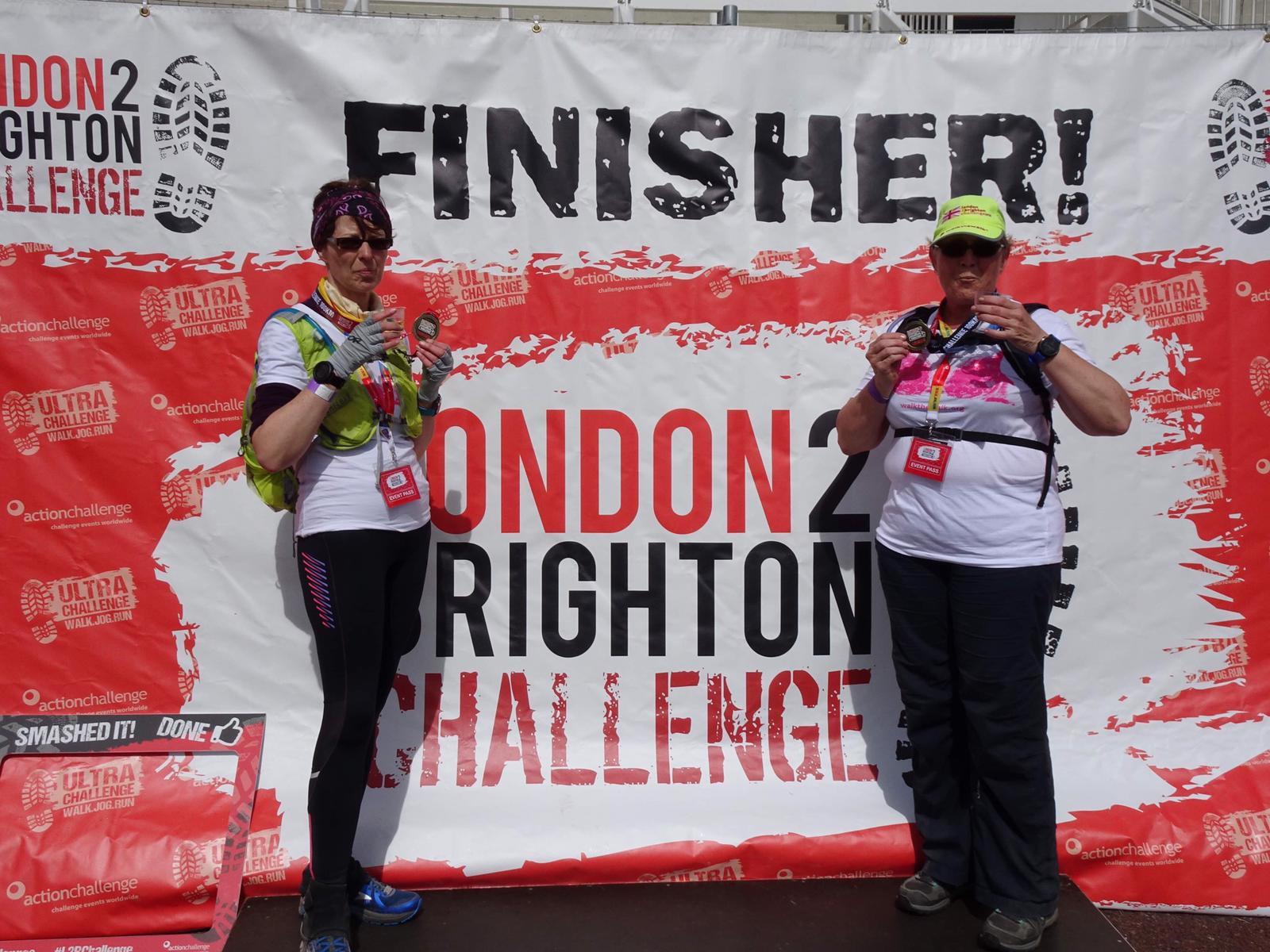 London to Brighton finish - Julie and Jane