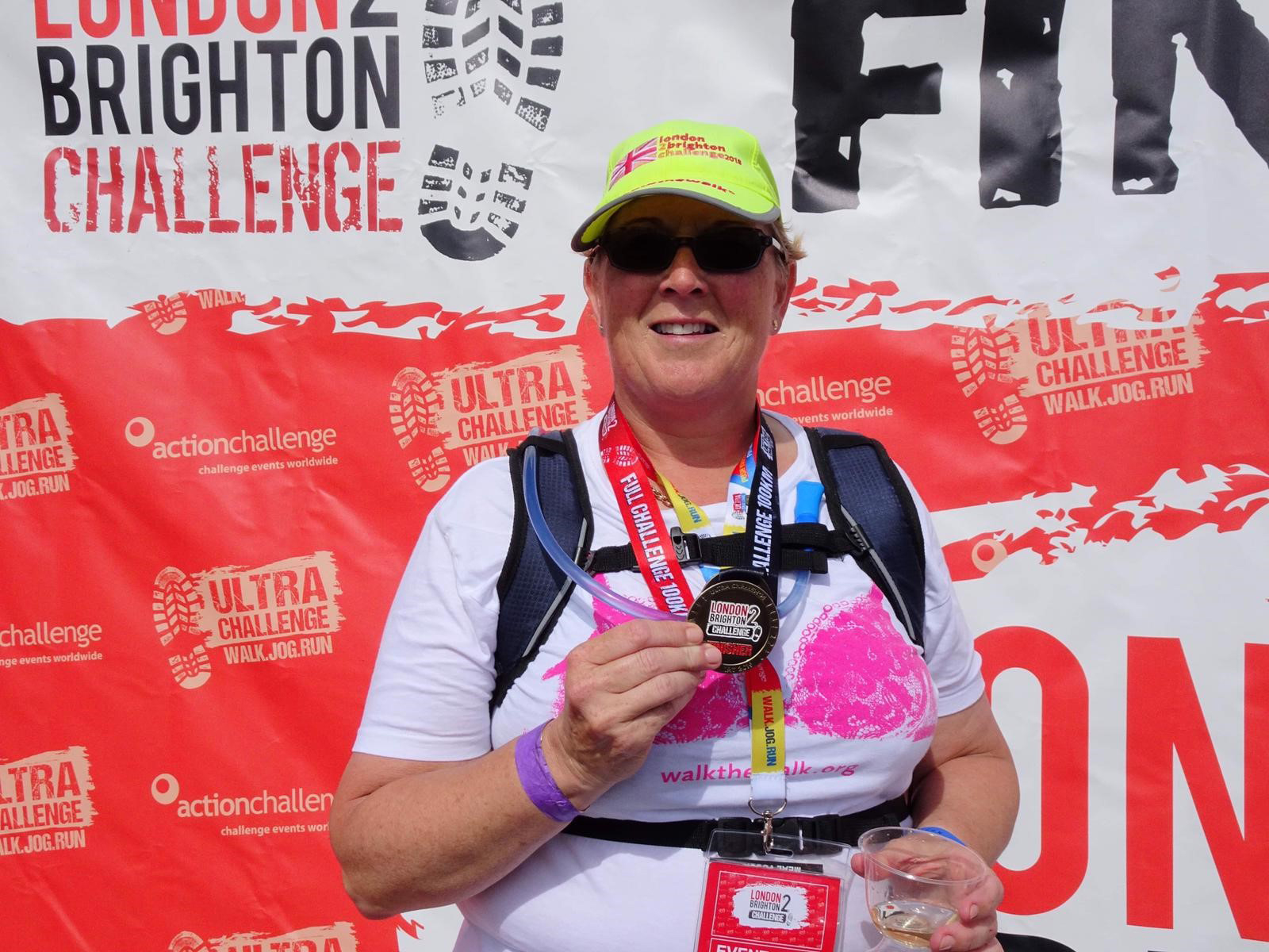 Jane with her London to Brighton medal!