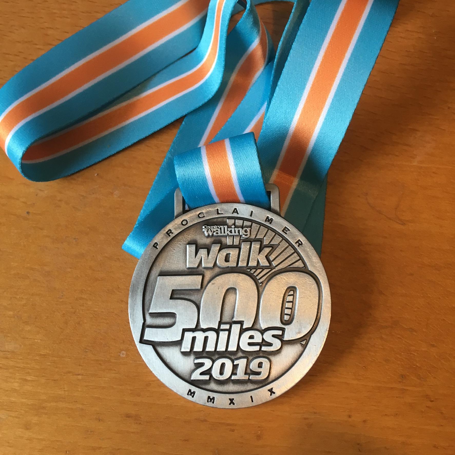 My 500 miles medal!