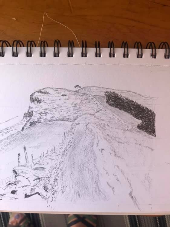 My attempt to sketch the view along the ridge to Back Tor from Hollins cross in the Peak District. Best not give up my day job! - Carolyn Towse