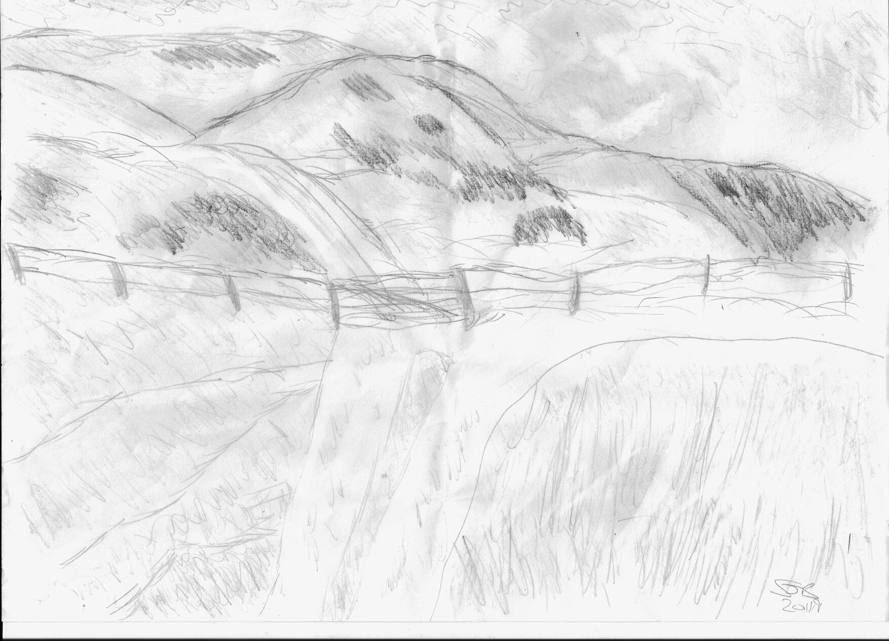My first attempt at sketching for several years. It's inspired by a view near Jevington on the South Downs Way. It's also my first attempt at a minichallenge! - Stevie Jayne Beal