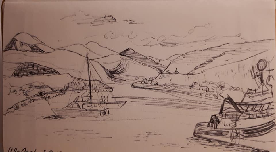 Sat and sketched this in Ullapool on a gorgeous sunny day. My first solo walking holiday. It was scary but fantastic. Laura Smith