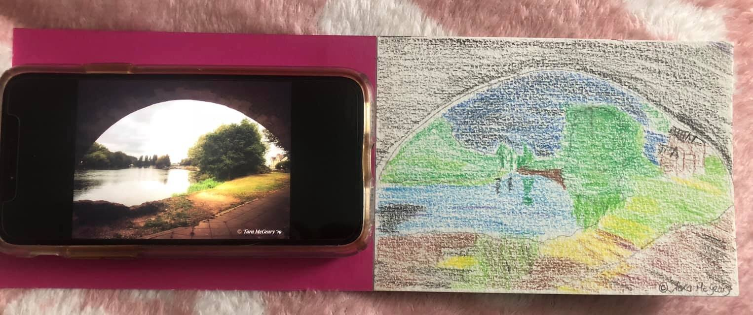 I was told by a teacher at the age of 11, my artwork was rubbish & that I should stick to doing science kept doodling to myself. So here is my attempt at drawing the Thames Path from my photo I took yesterday - Tara McGeary