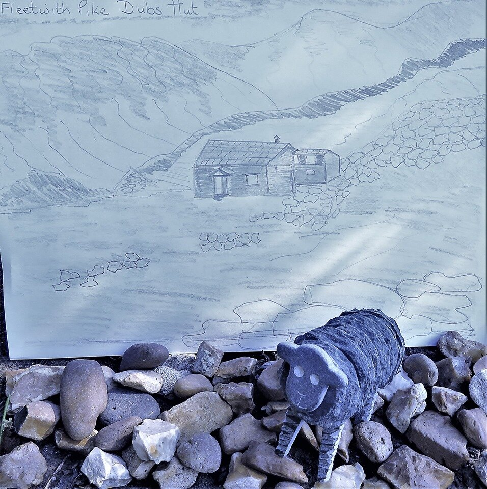 Dubs Hut (on Fleetwith Pike with a view to Haystacks). In memory of all those that lost their lives, working in horrendous conditions, in the slate mine - Angela Harvey