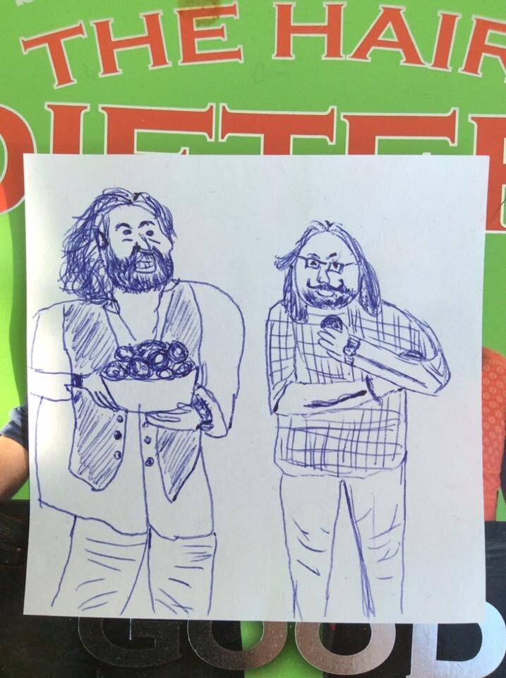 Started drawing a landscape and ended up sketching the hairy bikers instead - Claire Mct