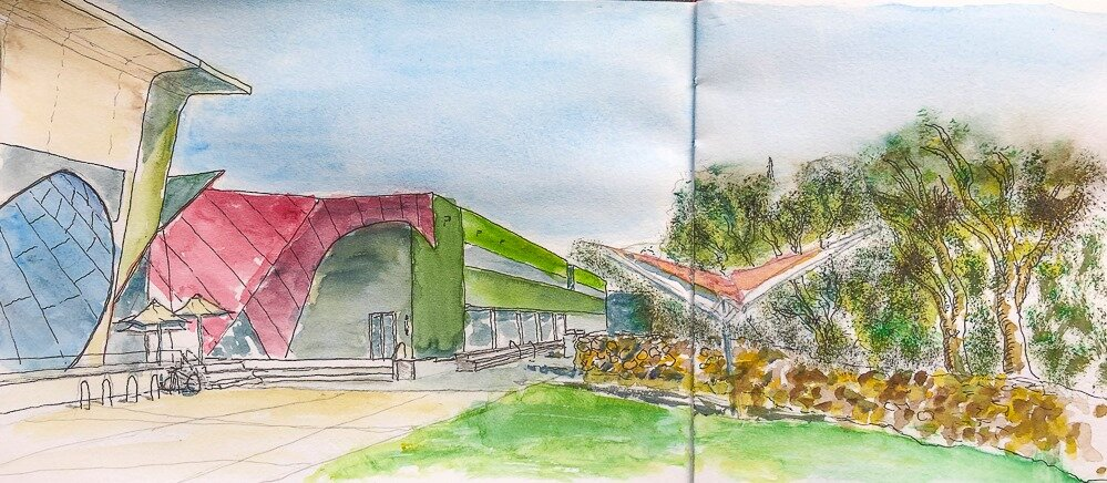 The National Museum of Australia is a great place to walk around - and it's really difficult to sketch as the perspectives are all over the place, so here's my effort - Jerry Everard