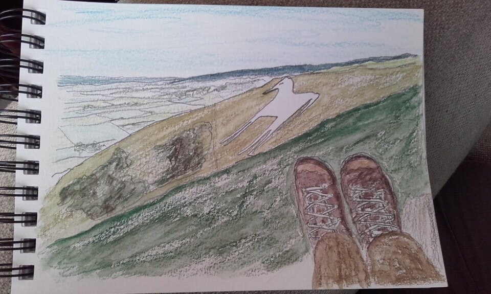 Westbury White Horse. Just a short detour off the Imber Range Path when walking a section of it on Wednesday. Mike Shorey