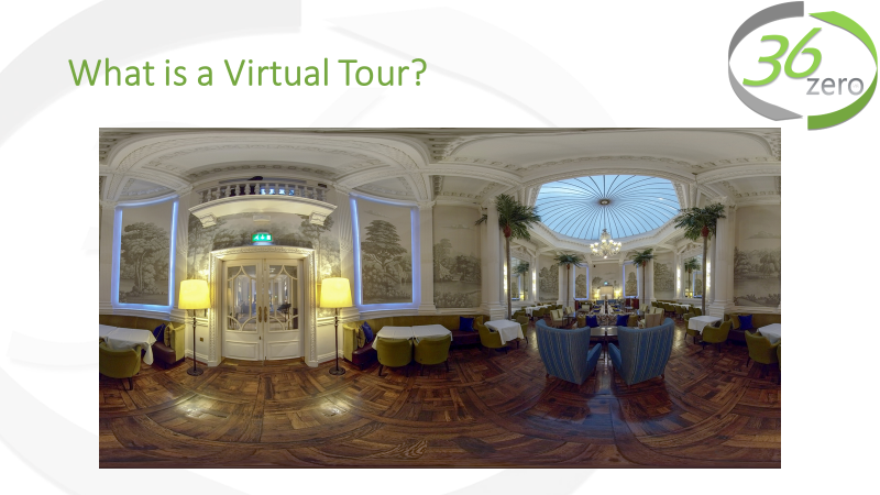 "What is a Virtual Tour - A virtual tour is a series of panoramic images like the one displayed here. This image is created from a number of photographs that are stitched together to make one image. Using our software, the final image is then displayed as a ""photo sphere"", in which the viewer is completely immersed. These photo spheres are then interconnected to make a tour.Click here to view this image in a virtual tour."