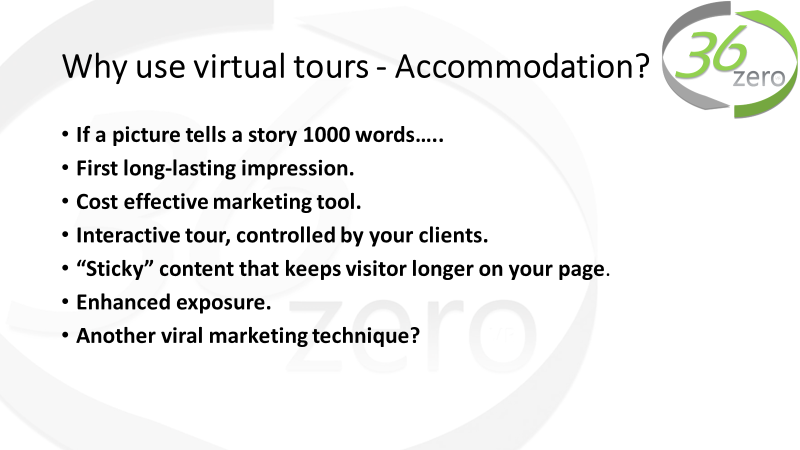 "VR Accommodation - Virtual tours are an innovative trend that is expanding to many new businesses. What started out as a way to promote museums, universities, and the property market, virtual tours now comprise a vital piece of the sales puzzle, as they are highly accountable for a significant amount of conversion rates. And now with so many platforms to ""showcase all the details that your customers love"", these easily convincing them to book a holiday with you."