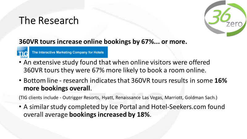 Does it really work? - Some of the world's major hotel chains have commissioned studies into the effectiveness of virtual tours. In all cases, they have found a significant increase in bookings for hotels that featured virtual tours on their websites