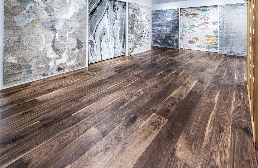 "Select & #1C Grade - Select Walnut and #1C Mixed Grades in 12"" Wide, ¾"" Solid. Manufactured to specifications for Jack Walsh Trade Showroom flooring division in Palm Beach, FL."