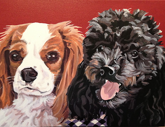 """""""Wally and Boone"""", acrylic on canvas, 14"""" x 11"""""""