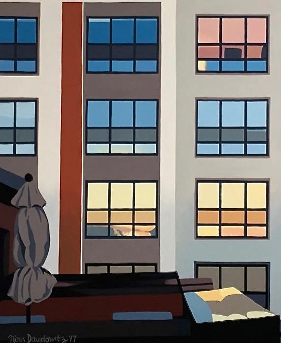 "Detail: ""Trisha's View"", acrylic on canvas, 40"" x 60"", Nina Davidowitz 2017"
