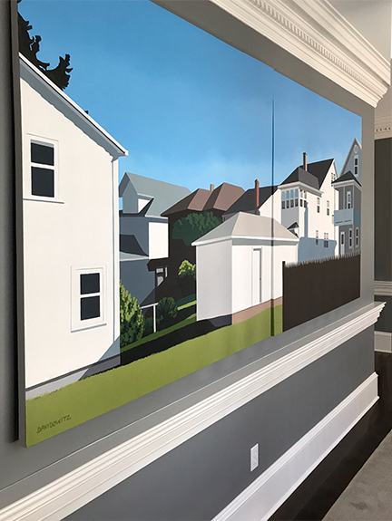 A large painting of your neighborhood or even your own backyard is like having a giant window of light on our wall.