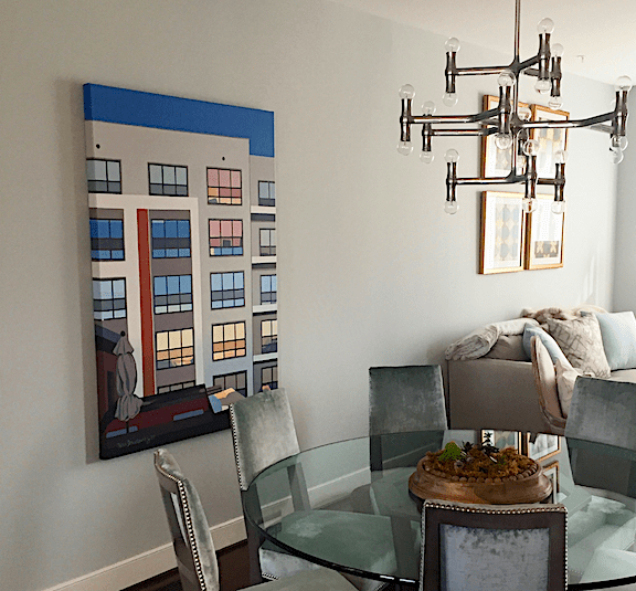 "A client's home in Fairfax, VA features a commissioned painting that is the view from her rooftop balcony. (40"" x 60"", acrylic on canvas)"