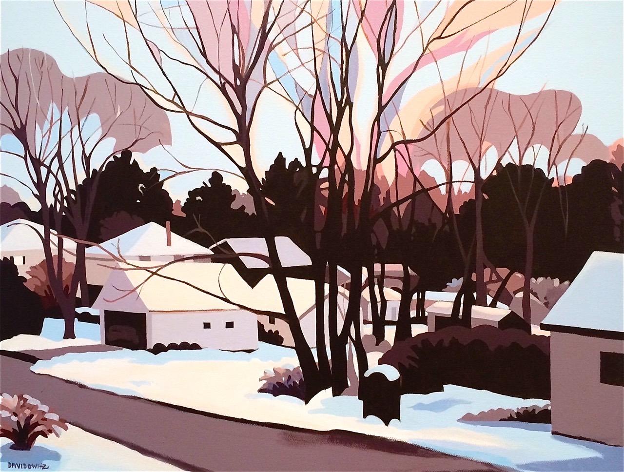 """Sunrise in the Treetops"", acrylic on canvas, 24"" x 30"", copyright 2015 Nina Davidowitz"