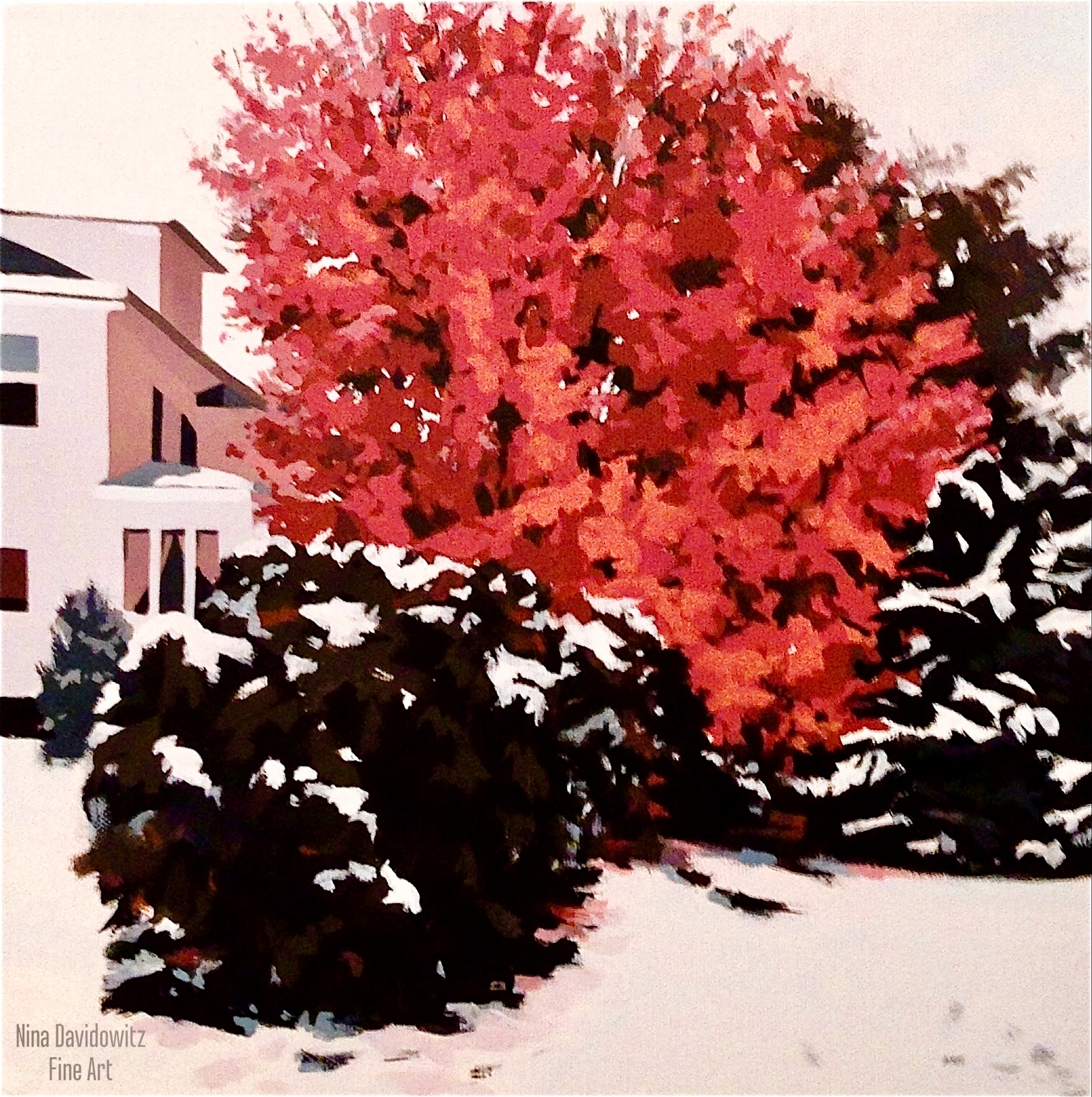 """""""Red Maple in WInter"""",acrylic on canvas, 14"""" x 14"""", copyright 2013"""