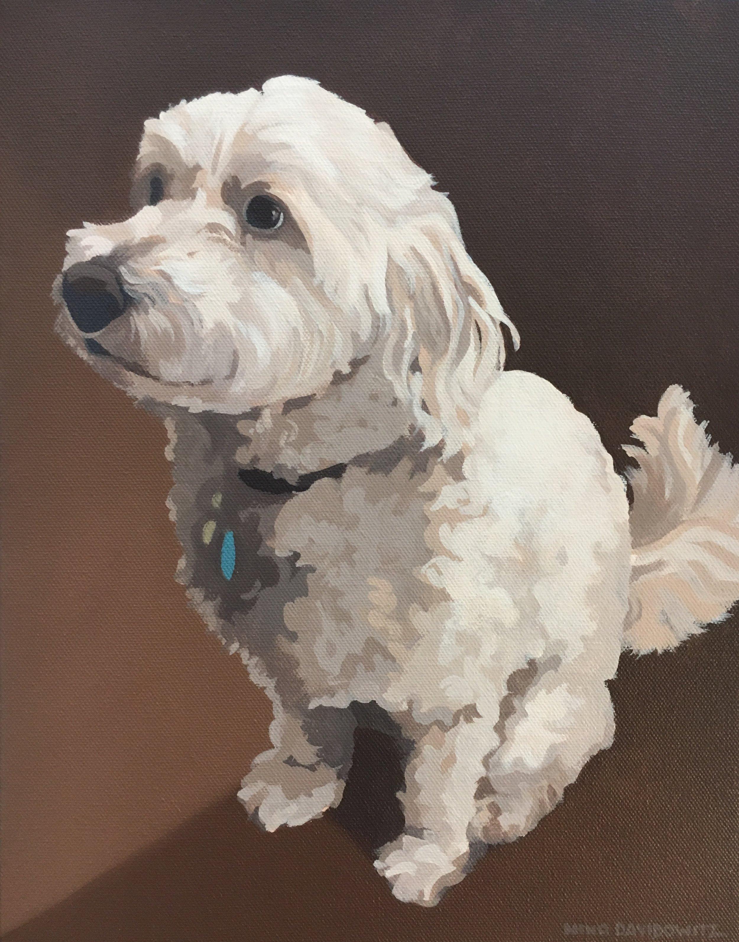 """Tucker"", 11"" x 14"", acrylic on canvas, copyright Nina Davidowitz 2018"