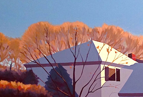 The trees on the left side of the painting glow in the early morning light.