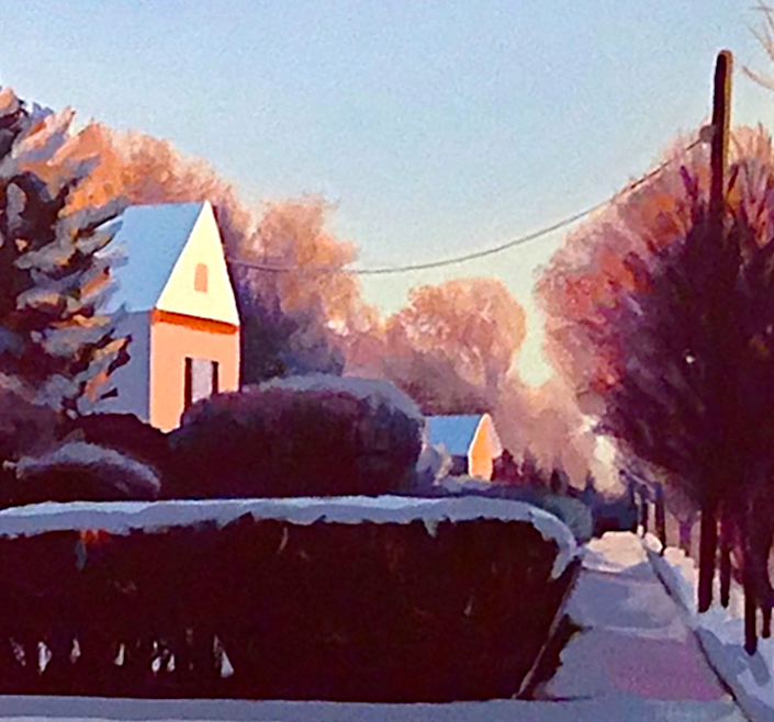 On the right side of the painting, a sidewalk lined by trees and houses calls to you.