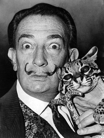 Salvador Dali and his ocelot, Babou (photographer not credited)