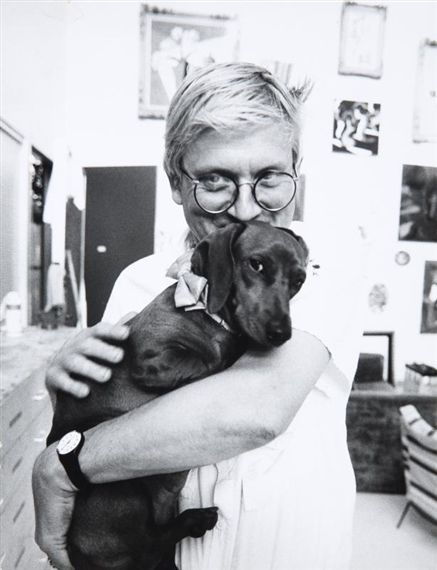 Awww!! David Hockney, Self Portrait with his Dog Stanley (date not documented)