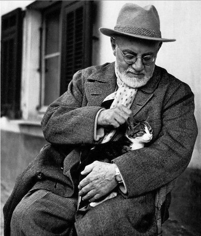 Henri Matisse and his cat in Nice, France (photographer and date undocumented)
