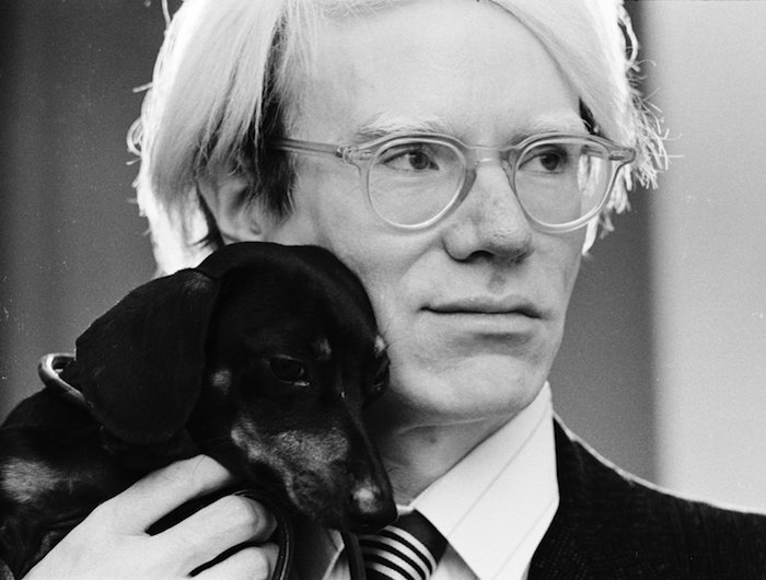 Warhol and his dog Archie (Photograph by Jack Mitchell, 1973)