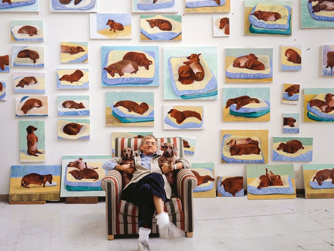 David Hockney and his dogs. Photograph by Richard Schmidt.