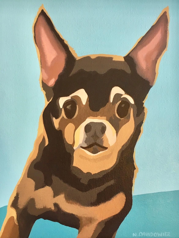 """Portrait of Taco (younger)"", 11"" x 14"", acrylic on canvas, Nina Davidowitz 2018"