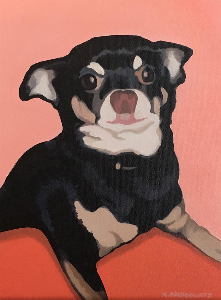 """Portrait of Taco (older)"", 11"" x 14"", acrylic on canvas, Nina Davidowitz 2018"