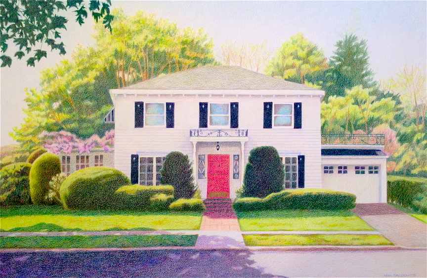 This house portrait shows the client's home in the springtime, their favorite season. I worked with several reference photos to create a piece that resonated with them. This is a sample of my work using colored pencils, which have a softer feel than acrylic paints.   Colored pencil on paper,Nina Davidowitz copyright 2012.